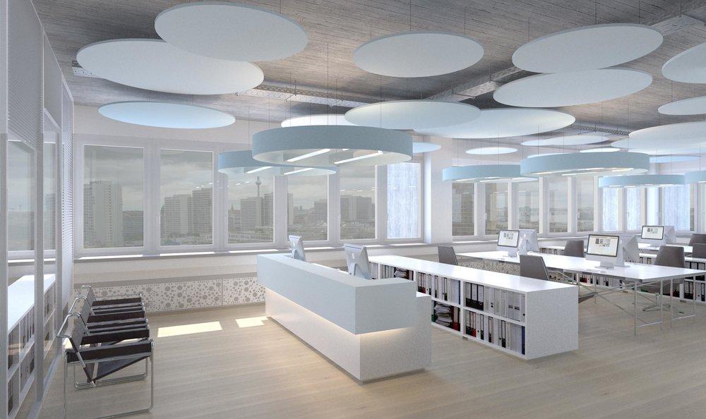 Visualisierung für ein Großraumbüro
