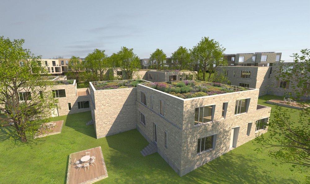 Parkvillen bilden das Herz des neuen Wohnquartiers.