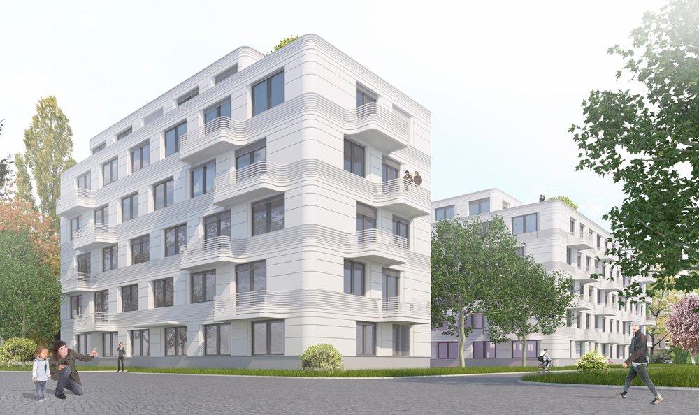 Der elegante Neubau steht in zweiter Reihe - mitten im Grünen.