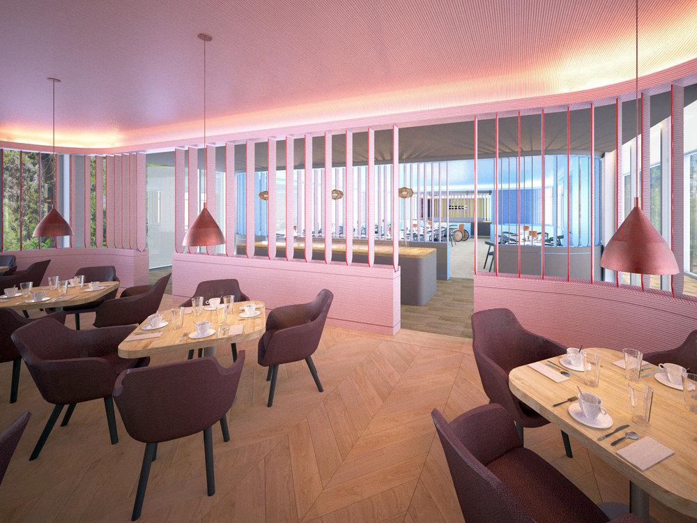 Das Restaurant gliedert sich künftig in 3 Bereiche - Frühstück u. Café / Mittagstisch / Bar und Dining.