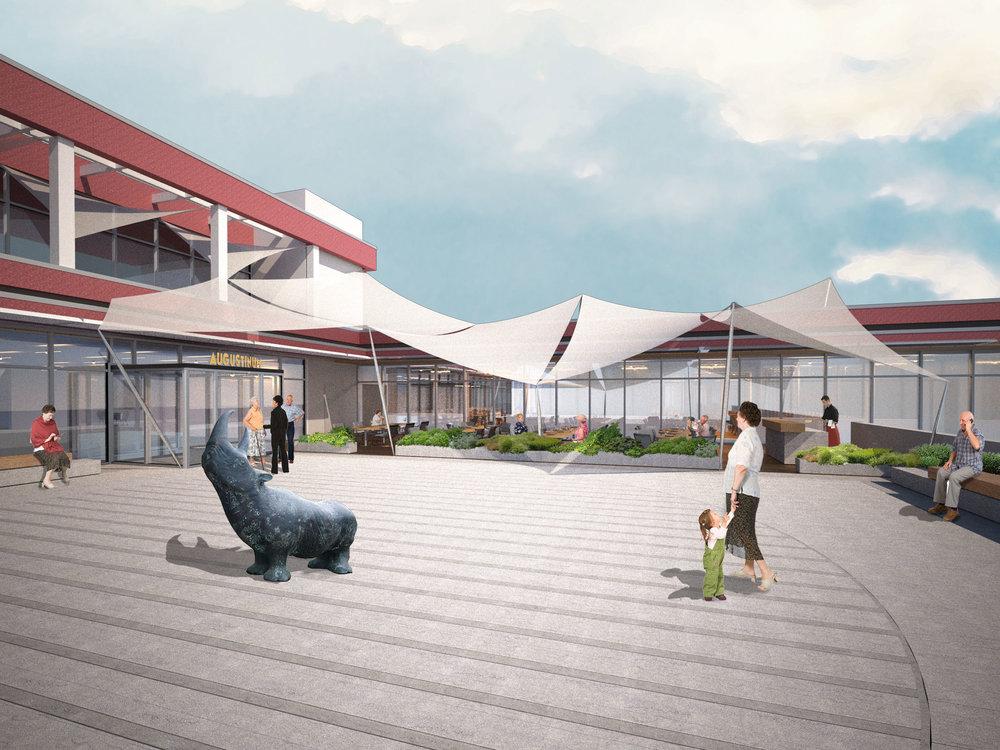 Vorschlag für die Neugestaltung von Auffahrt - mit Darstellung der Außenterrasse.