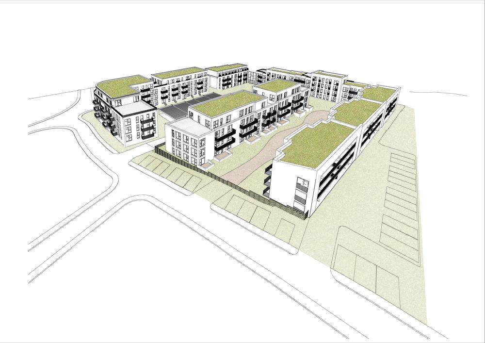 Masterplan des Wohnquartiers am Burgpark aus der Vogelperspektive