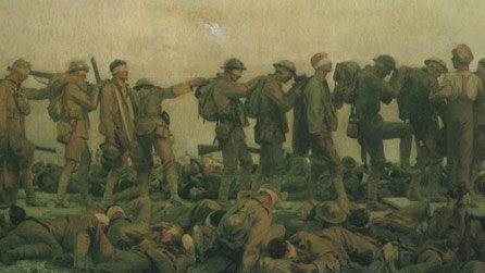 'Gassed' by John Singer Sargent depicts soldiers dealing with the effects of mustard gas.