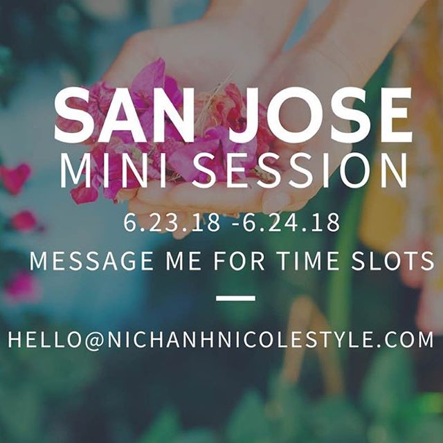 I will be in San Jose Saturday 6/23 and Sunday 6/24.  Message me or email hello@nichanhnicolestyle.com me for more information and time slots. . . #sanjosefamilyphotographer #sanjoseminisession #sanjosefamilyphotos #sanjosephotographer #morganhillphotographer #morganhillfamilyphotographer #sanjosefamilyphotography #familyphotography #minisessions #minisession #familyphoto #familyphotoshoot #sanjosefamilyphoto