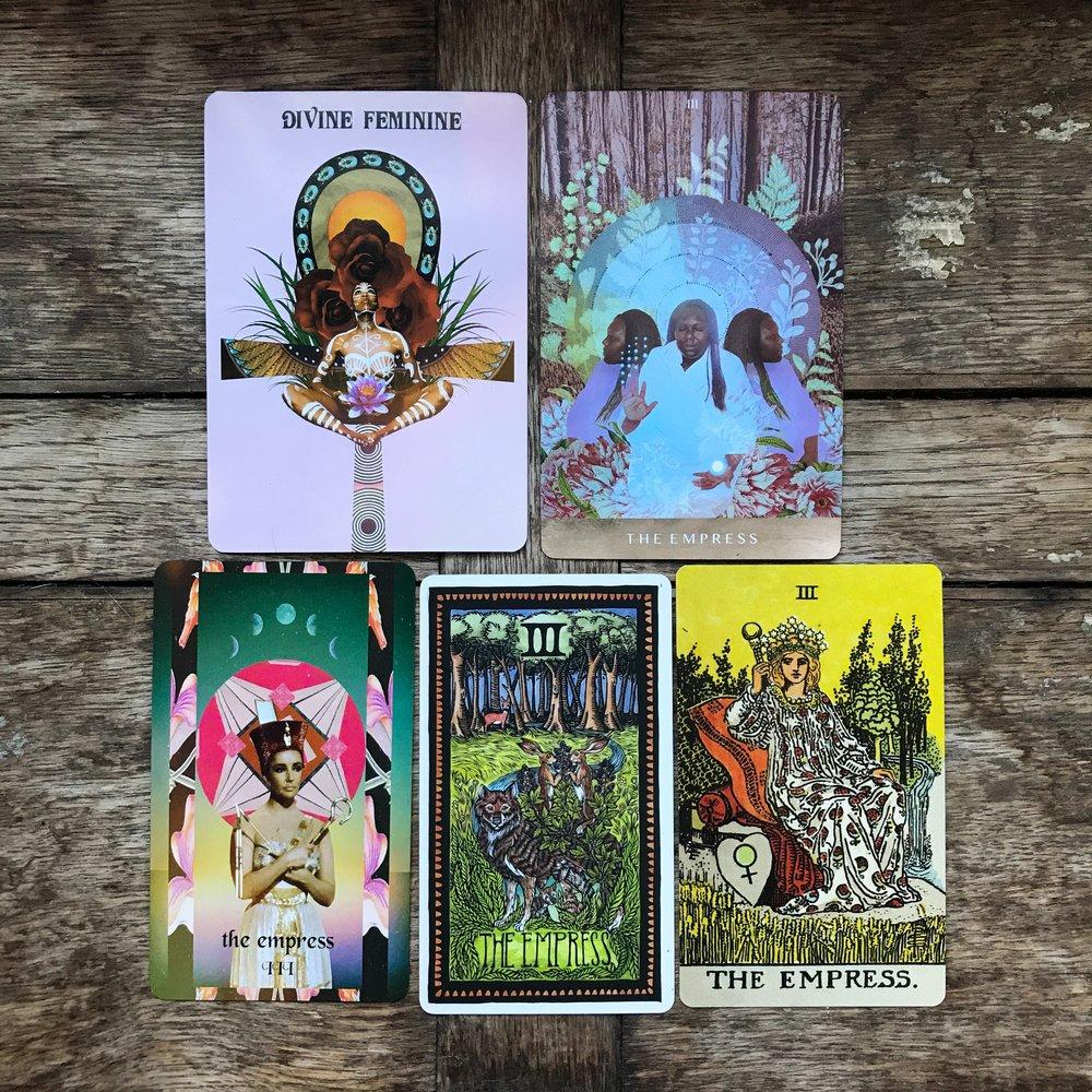top row from left to right: SheWolfe Tarot, Moonchild Tarot. bottom row: Serpentfire Tarot, Brady Tarot, Smith-Waite borderless.