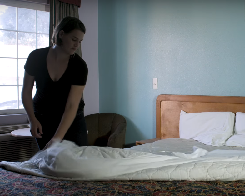 Remove the fitted sheets to inspect the top of the mattress.