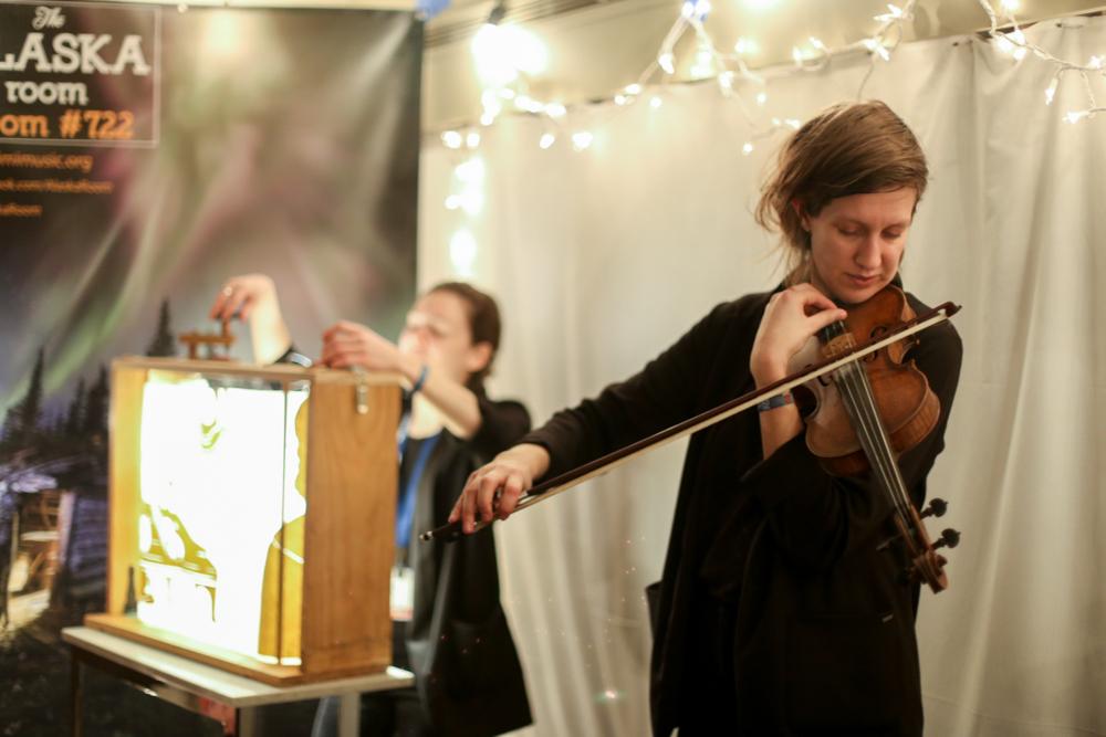 Anna & Elizabeth perform to a packed Alaska Room. Photo: Annie Bartholomew