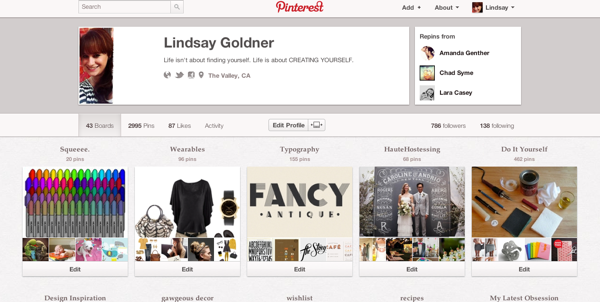 New pinterest profiles