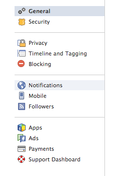 facebook account settings notification
