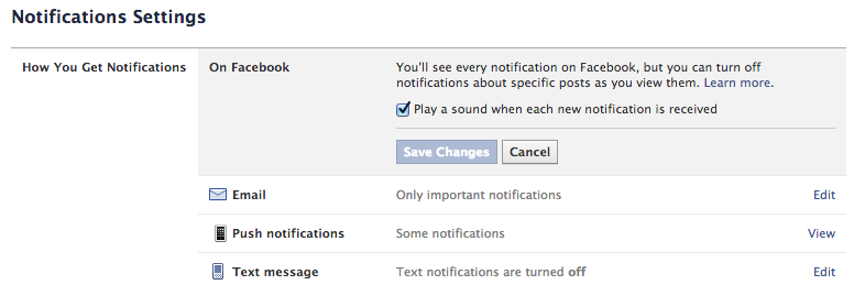 facebook turn off notification sounds