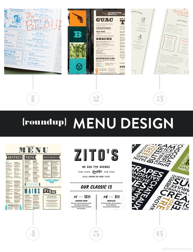 Roundup: Menu Design via Lindsay Goldner