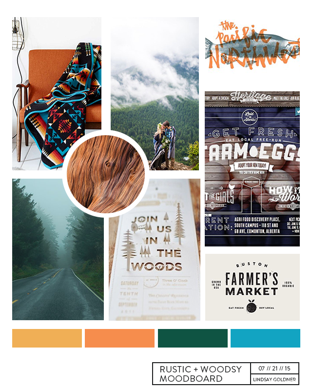 Rustic, Woodsy, Pacific Northwest-Inspired Moodboard by Lindsay Goldner