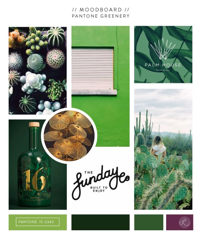 Pantone Greenery Moodboard - Lindsay Goldner Creative