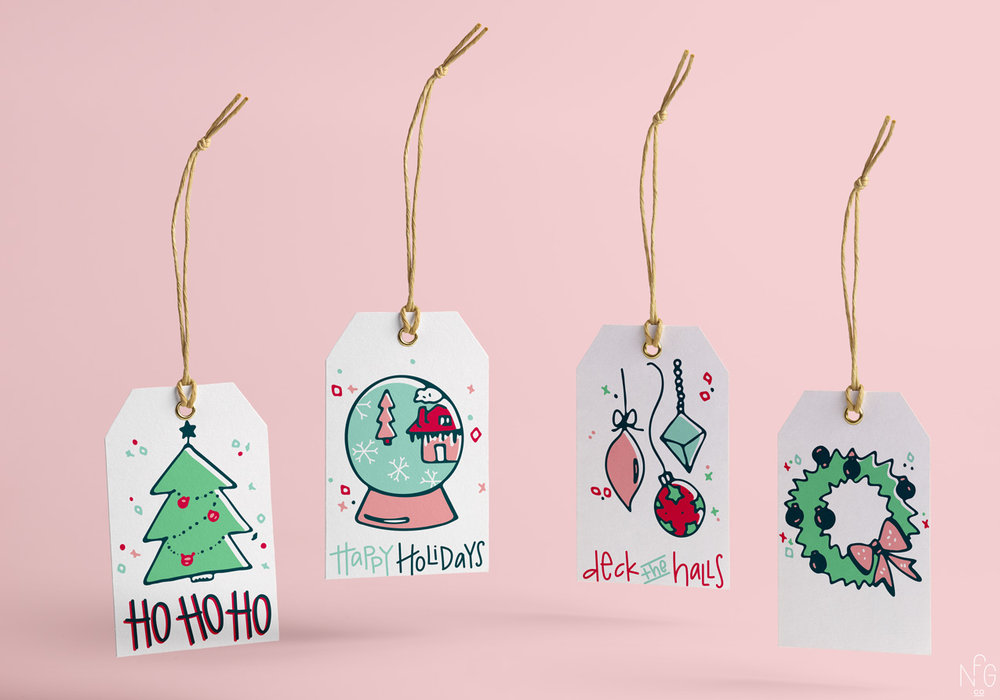 Holiday 2016 Illustrated Tags | No Fonts Given Co