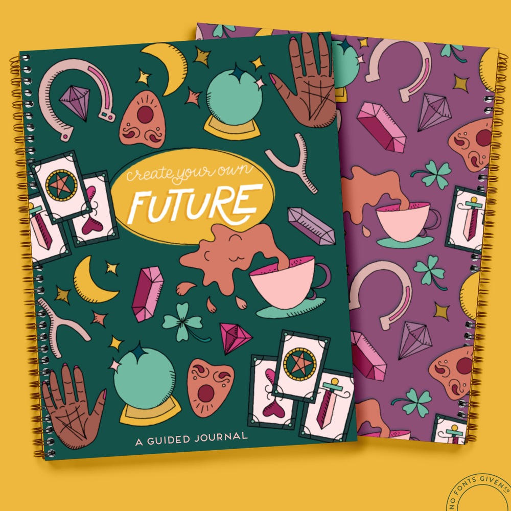 Tarot Cards, Witchy, Fortune Telling Journal Illustrated Surface Pattern   No Fonts Given Co