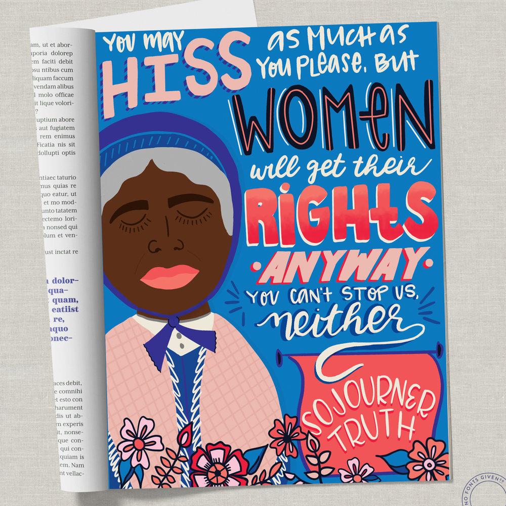 Sojourner Truth Editorial Illustration + Lettering   No Fonts Given Co