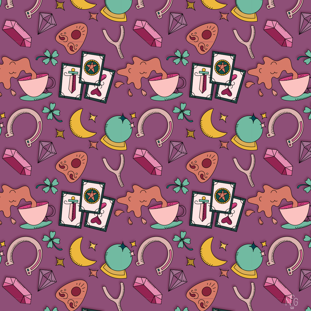 Fortune telling witchy tarot illustration pattern   No Fonts Given Co