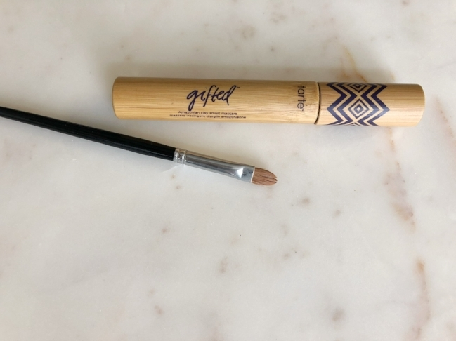 This is the concealer brush I use to clean up the extra eyeshadow and the mascara I am wearing in this post. This is a new mascara and so far I am a fan!