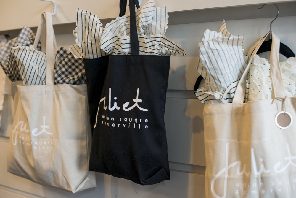 Bags, screen printed by Katrina, are just one example of the many products she works on when not at Juliet.