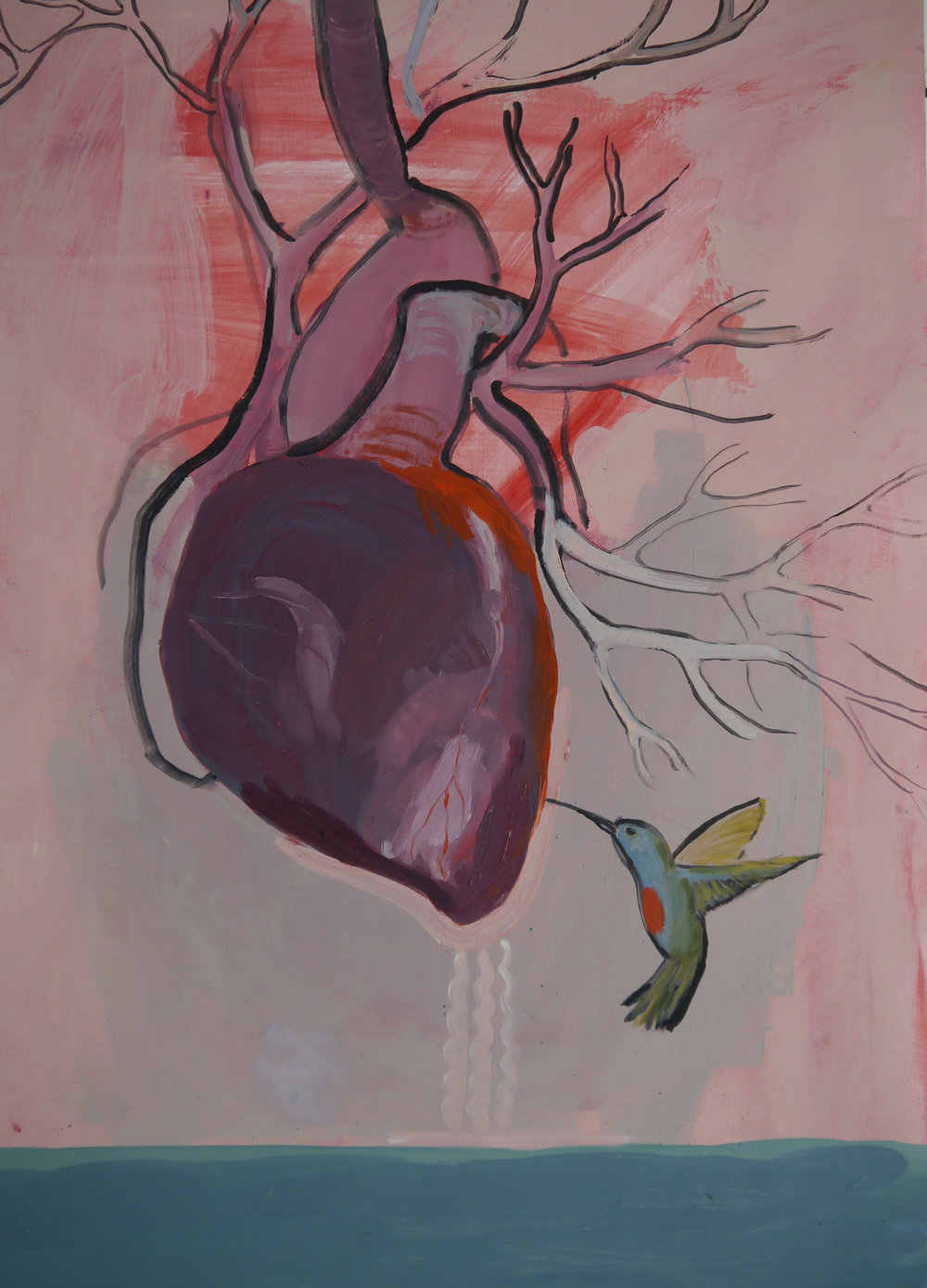 Heart and Hummingbird, oil on primed paper, 25.5_ x 19.5_, 2017.jpg