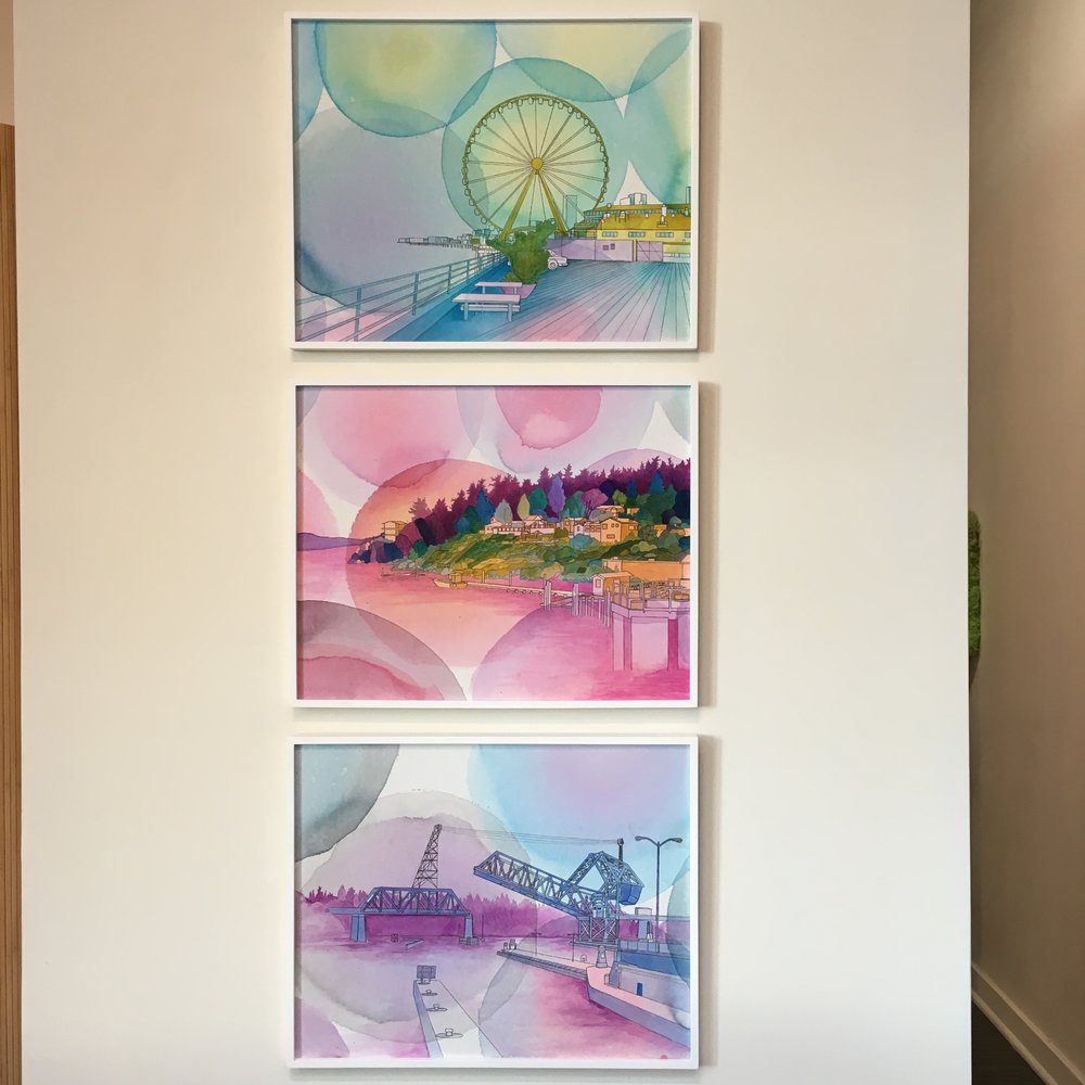 Elizabeth Gahan's three pieces of art collected that raided money for homeless children and pets in Seattle.