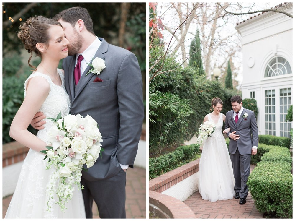 bride and groom take romantic portraits at Vizcaya Sacramento wedding venue