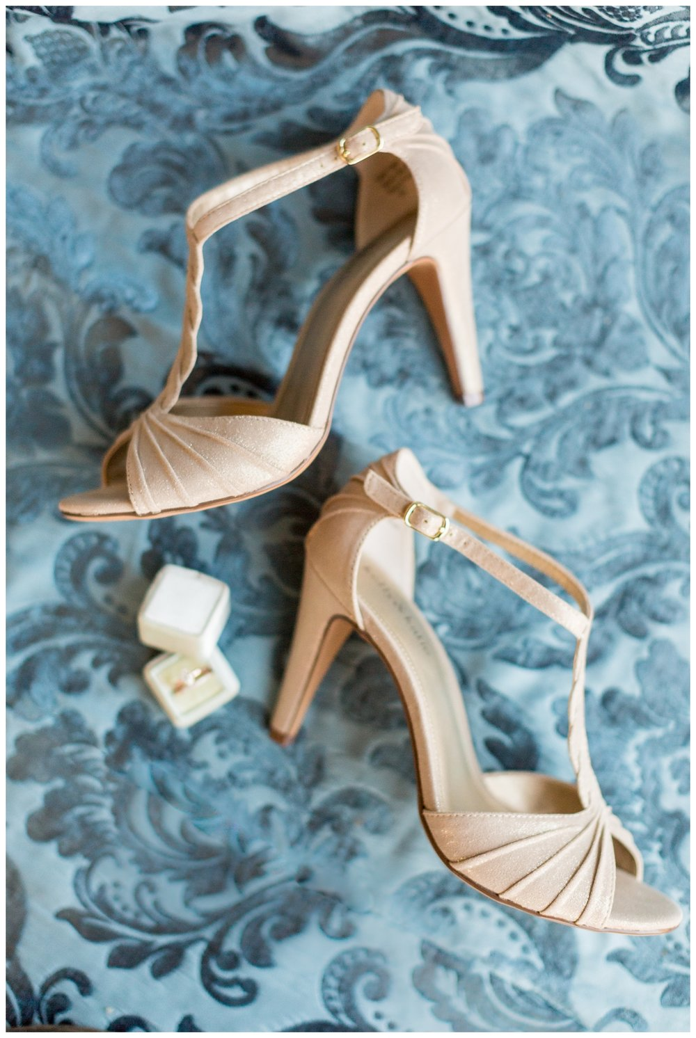 Brides designer shoes styled perfectly on La Tavola Linen from her Northern California New Years Eve wedding