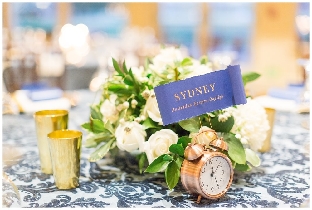 Gold clocks with Velvet La Tavola linens on tables