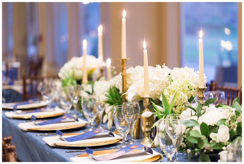 Cheniel damask La Tavola linens on the guest tables overflowing with candles