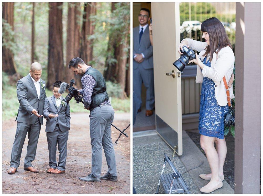 Wedding photographers checking their lighting in the Santa Cruz Mountains
