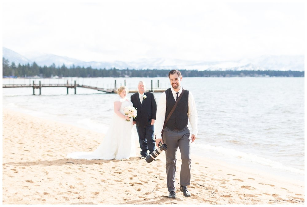Tahoe wedding photographer takes photos next to the lake in Northern California