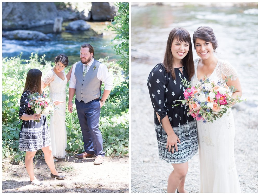 photographer with her bride on her wedding day in the hot summer in Chico California at Honey Run Covered Bridge