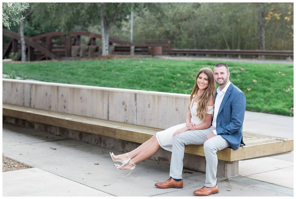 Destination Napa wedding photographer travels to Santa Rosa for a romantic sunset engagement photos session on Sonoma State Campus