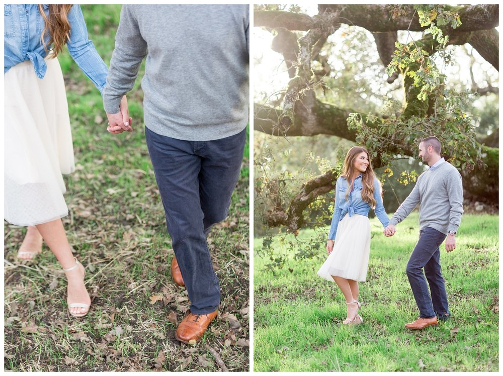 engaged California bride to be wears a tulle shirt and her fiancé gets dressed up for their destination Napa engagement photo session