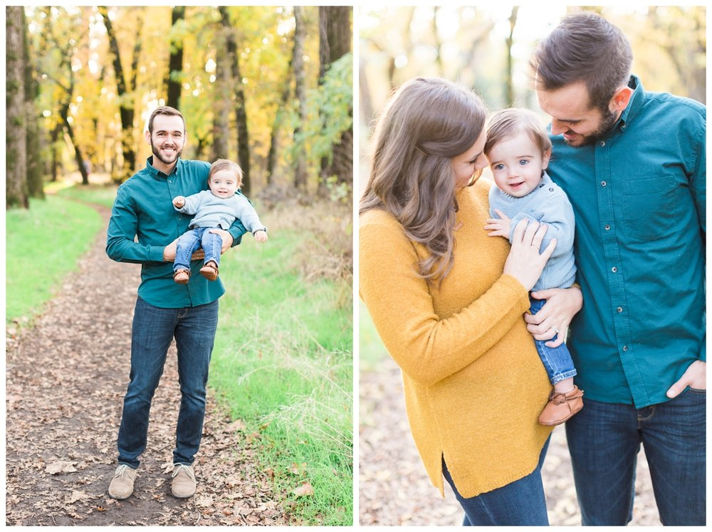 super cute family takes portraits together in Northern California Bidwell Park