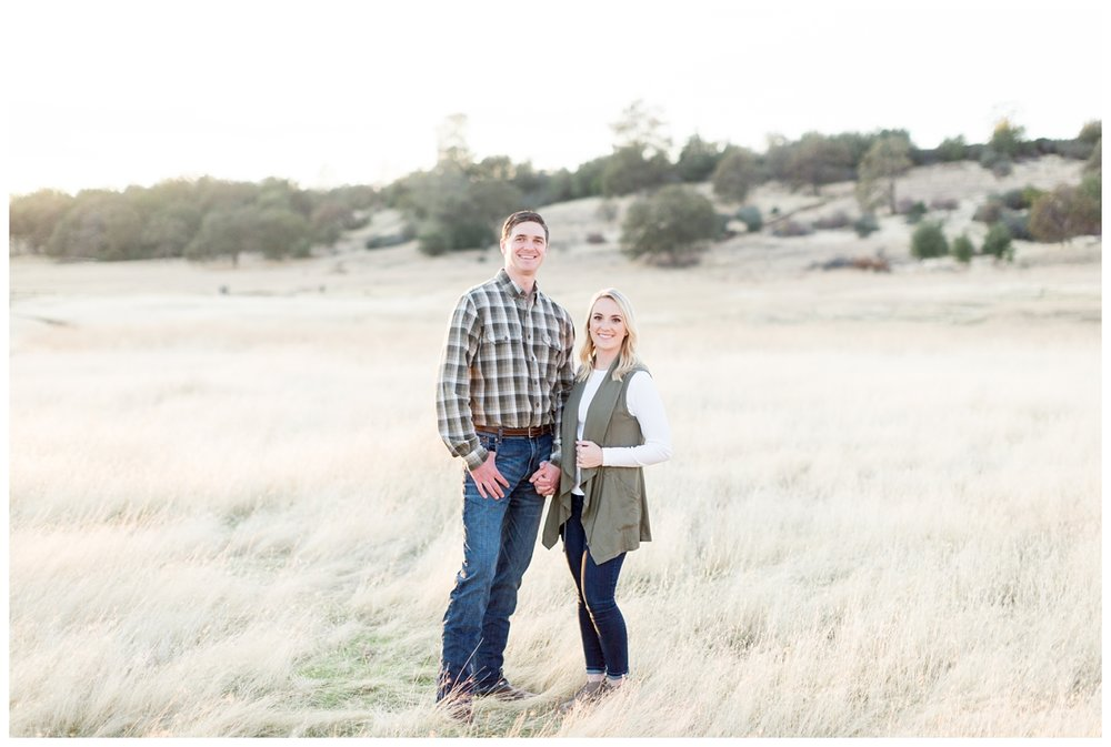adorable couple travels to their destination engagement photo session in Upper Bidwell Park taken by a husband and wife photo team in Northern California