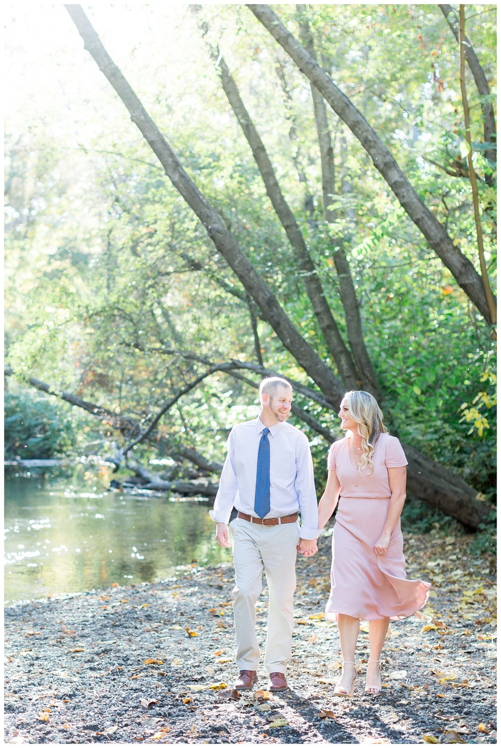 Lower Bidwell Park engagement photos taken next to the creek