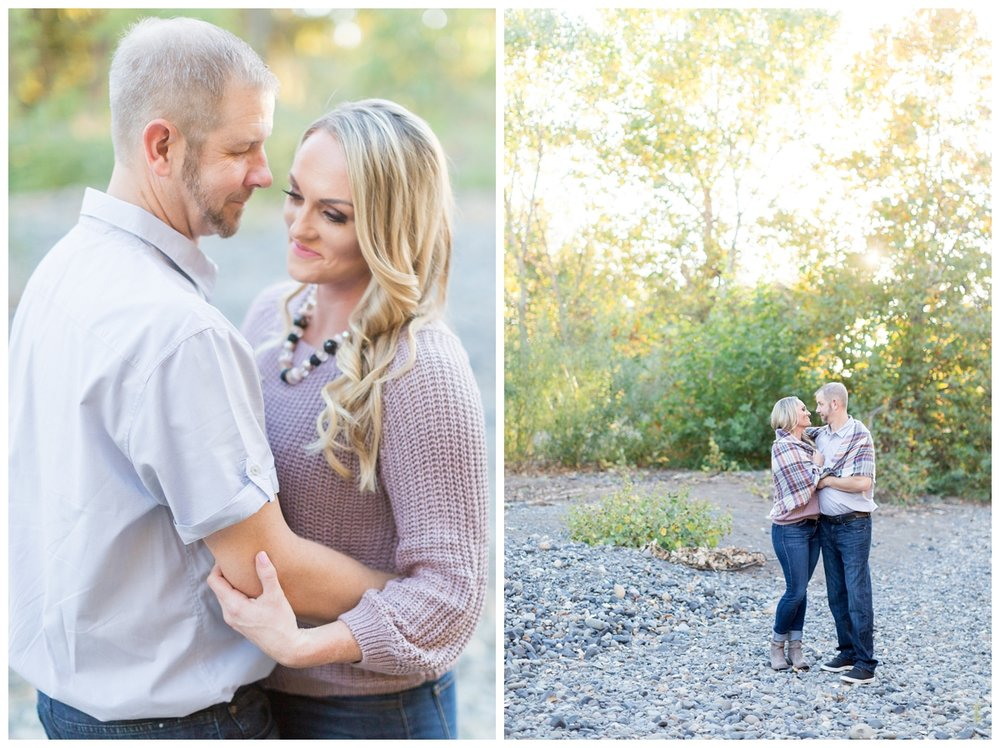 engaged couple taking romantic sunset photos in Chico California