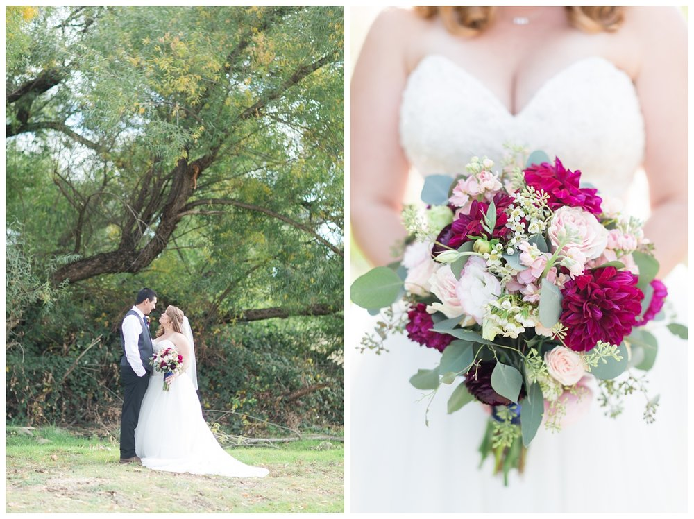 bride and groom taking romantic photos at their private estate wedding in Northern California