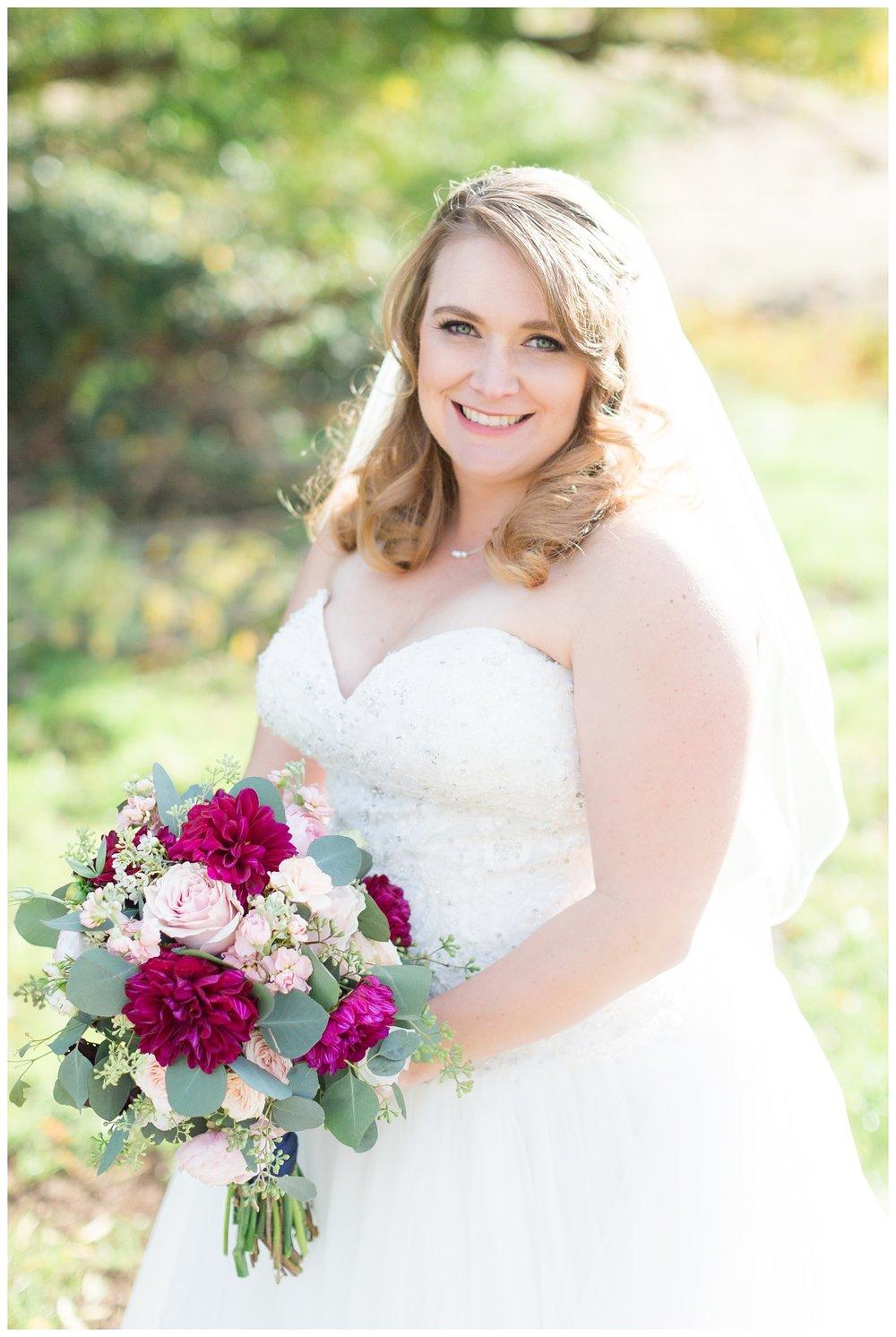beautiful bride smiling looking at the camera