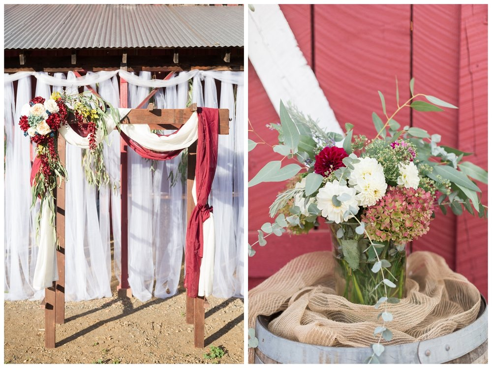 ceremony location in front of a barn in Northern California