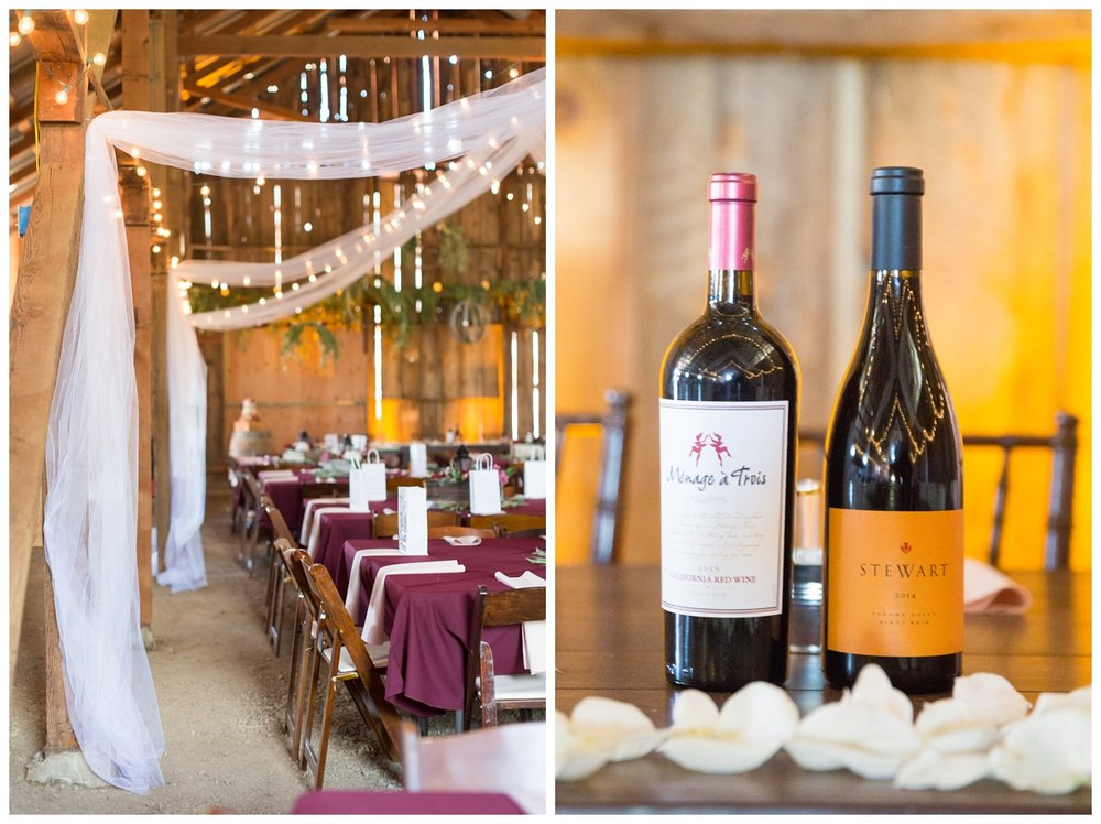 wine served at a classic wedding in Northern California