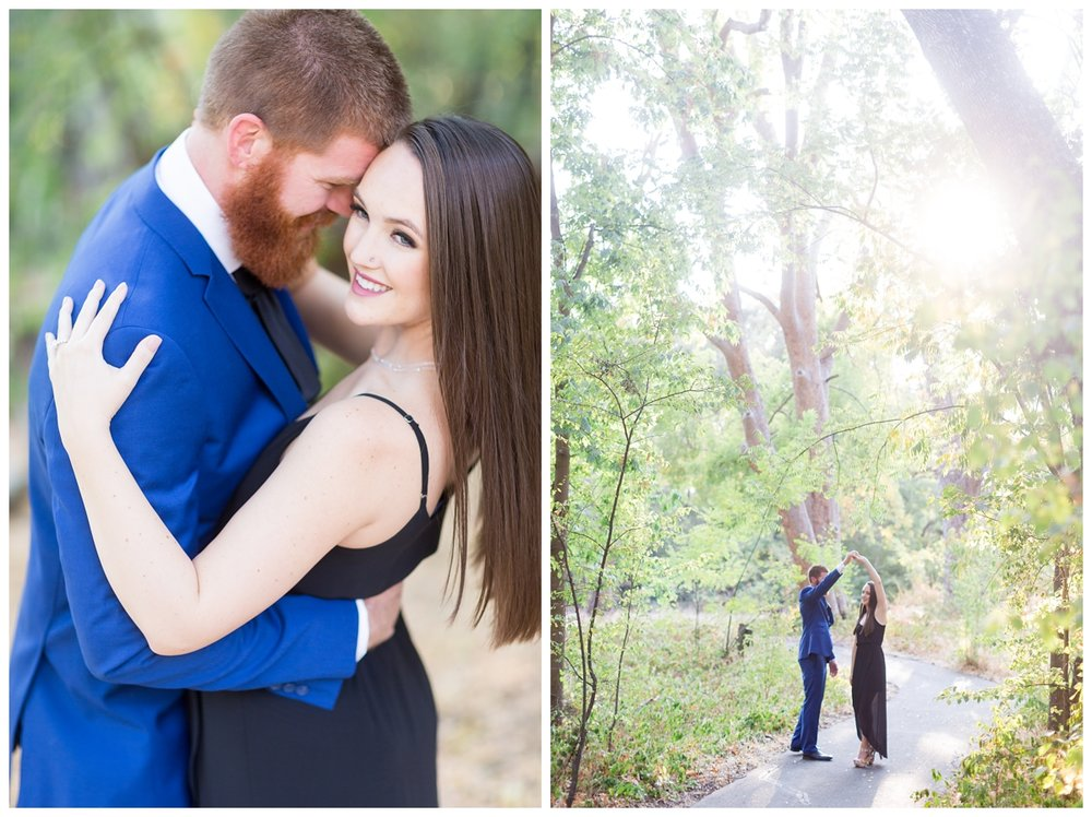 engaged couple gets dressed up fancy for their session while the soon to be groom wears a navy suite