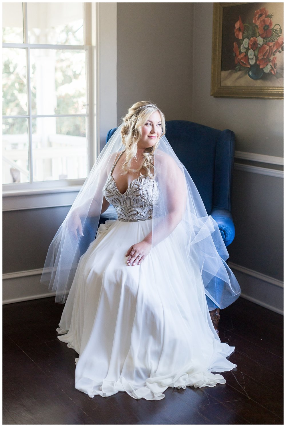 beautiful bride gets ready in a bed and breakfast in downtown St.Helena