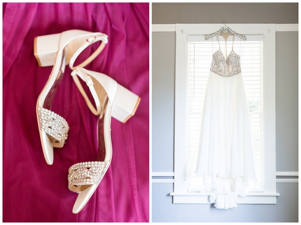 bride's designer Badgley Mischka wedding shoes she's wearing on her wedding day