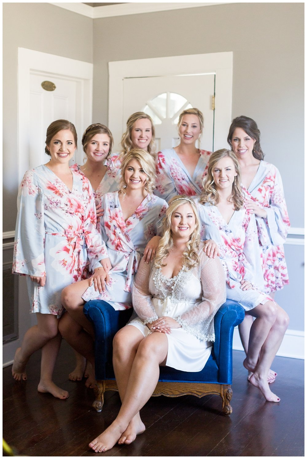 bride with all her bridesmaids in Napa Wine country Inn