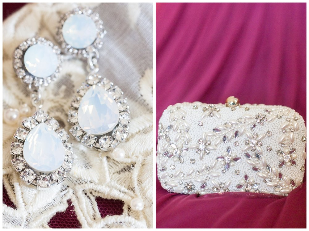 designer clutch that a bride wore to her own wedding in Northern California