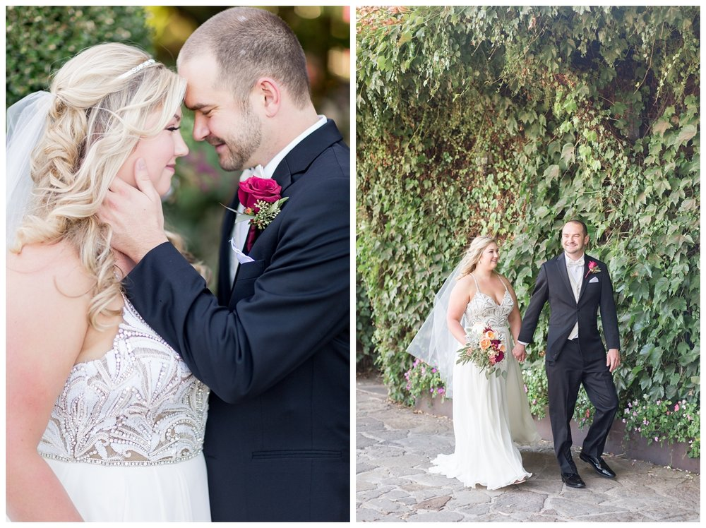 super romantic wedding portraits around V. Sattui Winery in St. Helena