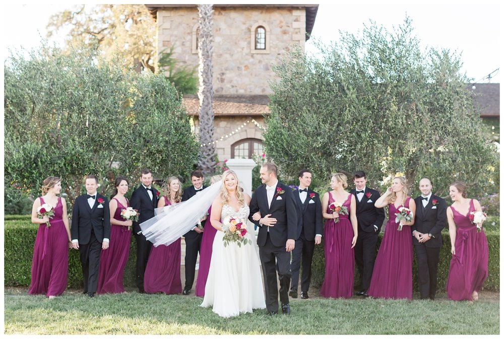 bridal party wearing black suites and black bow ties at a destination Napa Valley wedding