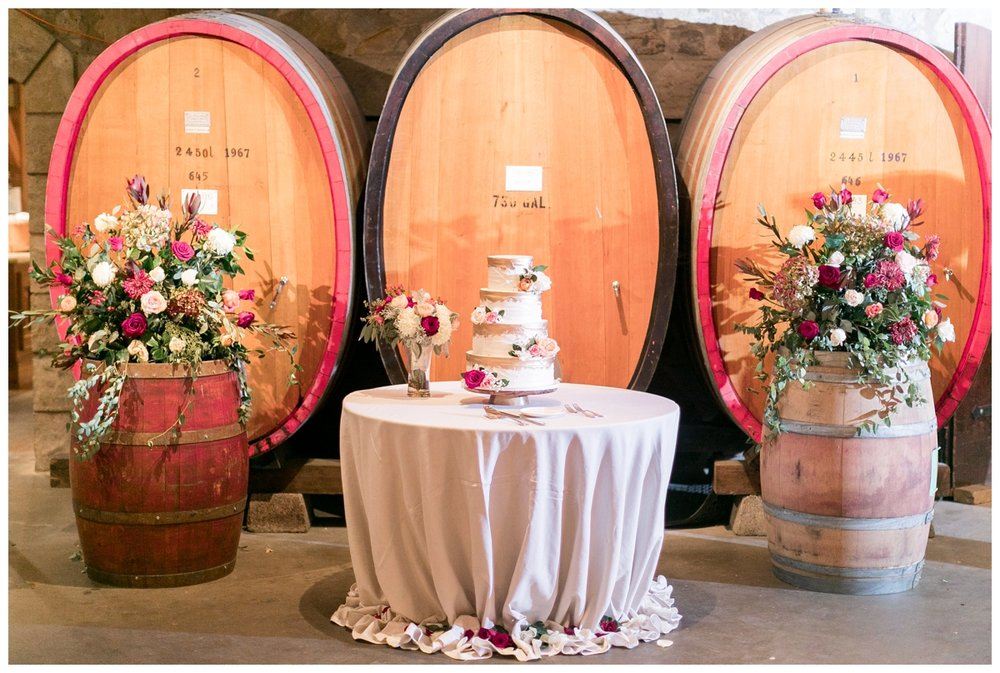 barrel room wedding recpetion at V. Sattui Winery in Napa Valley